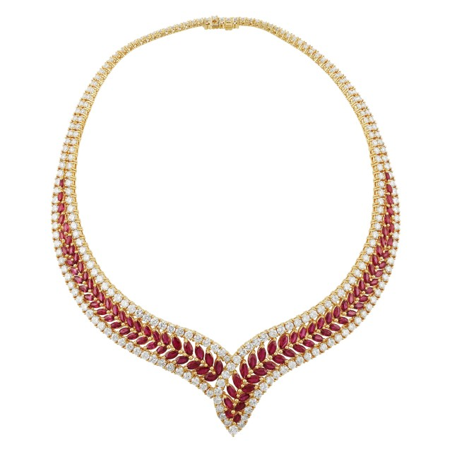Gold, Ruby and Diamond Collar Necklace