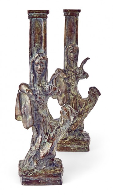 Pair of Diego Giacometti Patinated-Bronze Le Dompteuse