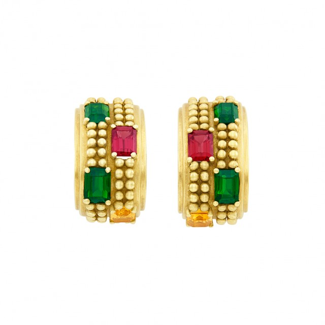 Pair of Gold, Citrine, Pink and Green Tourmaline Earclips, Barry Kieselstein-Cord