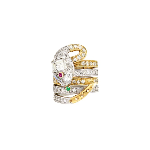 Platinum, Gold, Diamond and Gem-Set Snake Ring