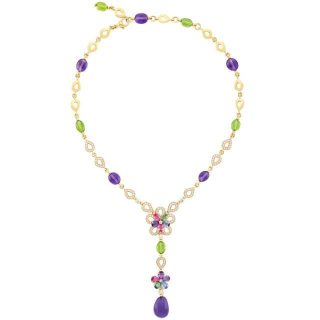 Gold, Multicolored Sapphire, Peridot and Amethyst Bead Flower Pendant-Necklace, Bulgari