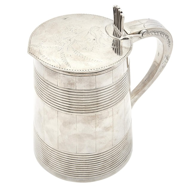 George III Sterling Silver Covered Tankard