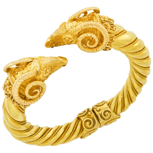 Gold Ram's Head Bangle Bracelet