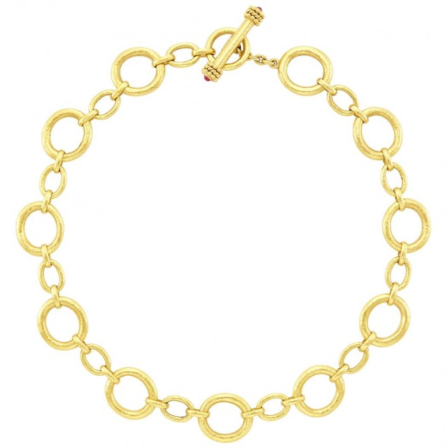 Gold and Cabochon Ruby Toggle Link Necklace, Elizabeth Locke