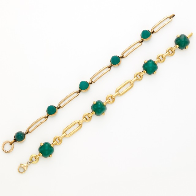 Gold and Green Chalcedony Bracelet and Gold-Filled and Glass Bracelet