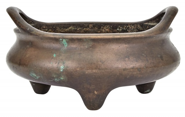 A Large Chinese Bronze Tripod Censer