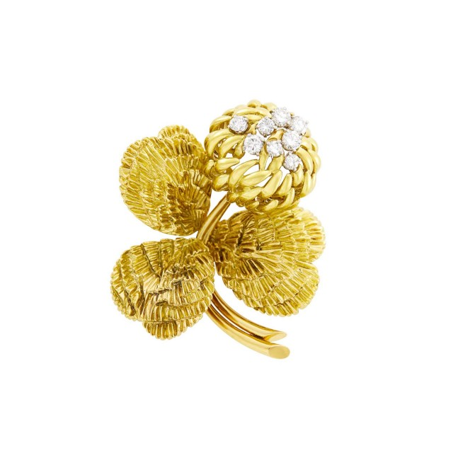 Van Cleef and Arpels Gold and Diamond Chrysanthemum Clip-Brooch, France