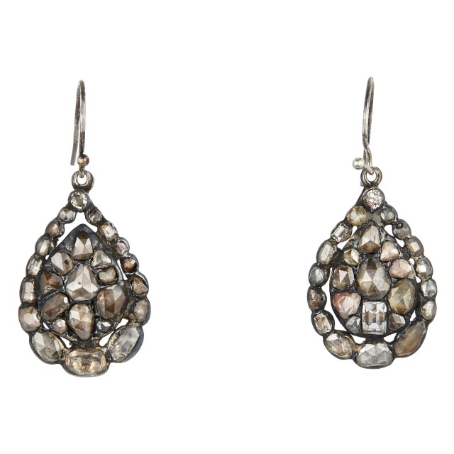 Pair of Georgian Silver and Diamond Pendant Earrings