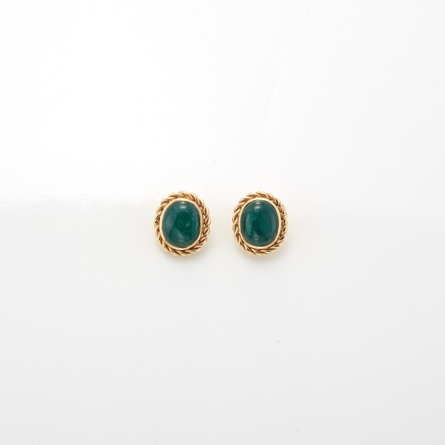 Pair of Gold and Cabochon Emerald Earrings