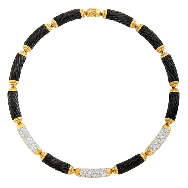 Two-Color Gold, Fluted Black Onyx and Diamond Necklace