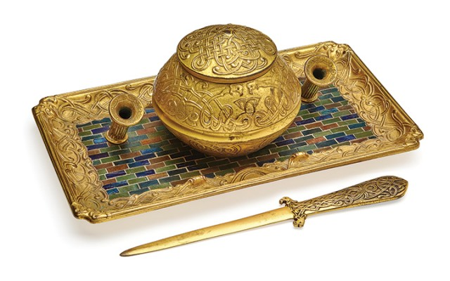 Louis C. Tiffany Furnaces, Inc., Inkstand and Paper Knife, circa 1920-1924