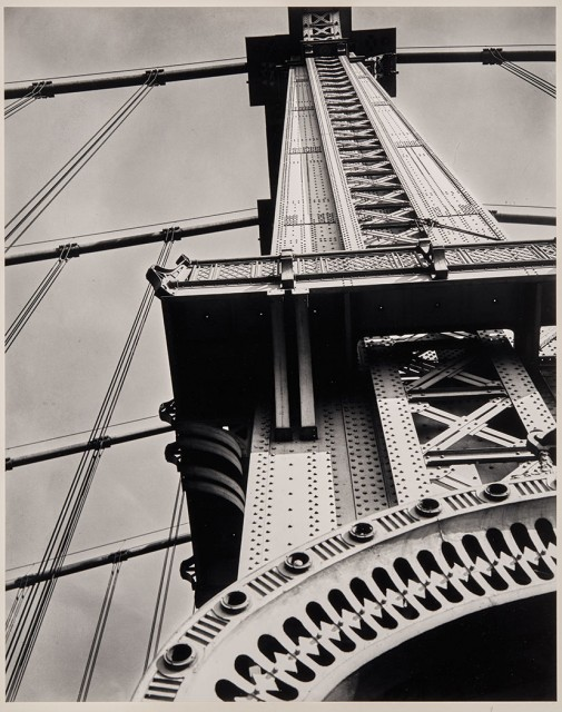 Berenice Abbott, Manhattan Bridge, looking up, 1936