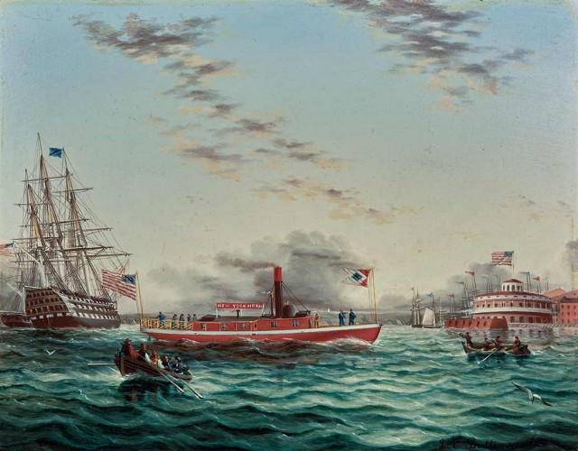James Edward Buttersworth, New York Harbor with Castle Clinton, a Pilot Ship and a Frigate