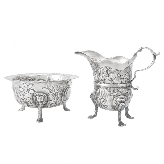 George II Irish Silver Cream Jug and Sugar Bowl