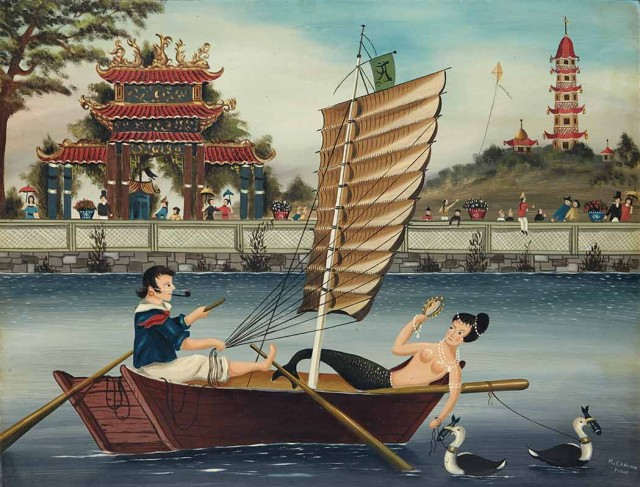 Ralph Eugene Cahoon, Jr., A Mermaid and a Sailor on a Junk in China. Auction Apr 5.