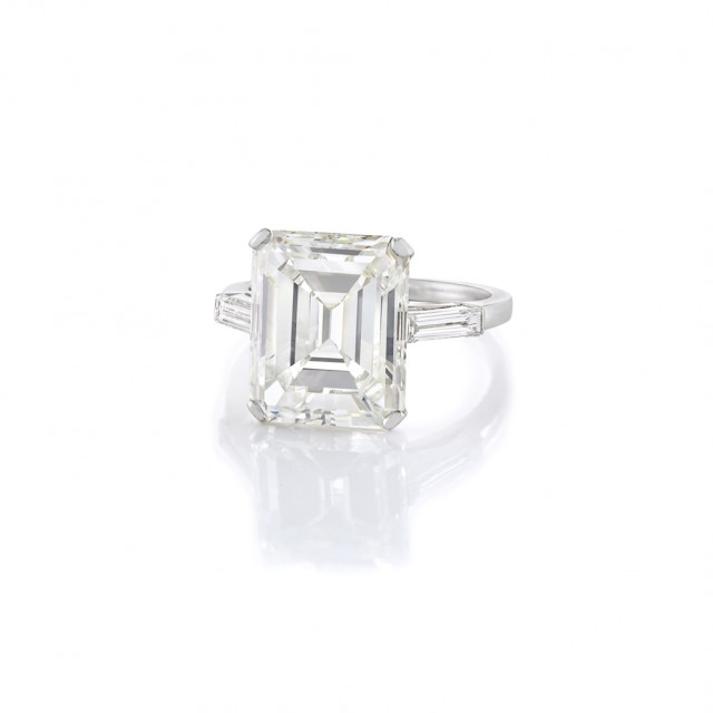 Platinum and Diamond Ring, Emerald-cut diamond approx. 7.66 cts. J color, VS2 clarity.