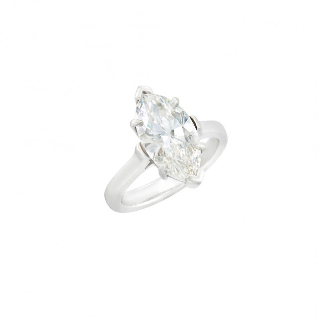Tiffany and Co. Platinum and Diamond Ring, Marquise-shaped diamond approx. 2.55 cts., G color, VVS1 clarity, Potential.