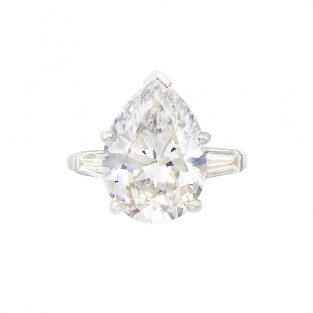 Platinum and Diamond Ring, Pear-shaped diamond approx. 10.03 cts., E color, VS2 clarity.