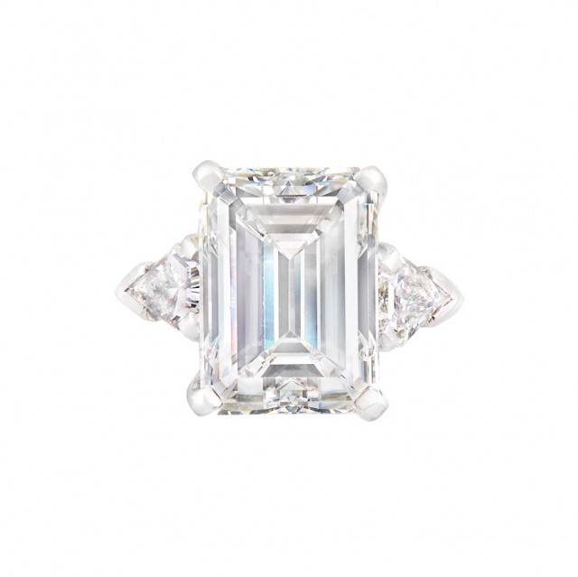 Gumbiner Platinum and Diamond Ring, Emerald-cut diamond approx. 7.80 cts., F color, VS1 clarity.