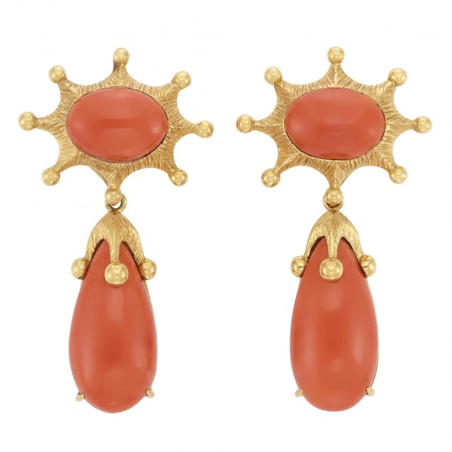 Pair of Gold and Coral Pendant-Earclips, Tony Duquette