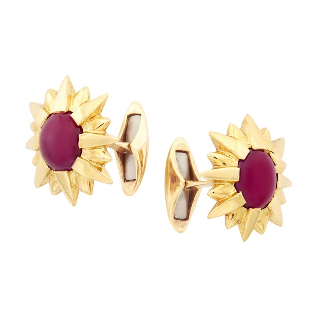 Pair of Gold and Cabochon Ruby Cufflinks, Tony Duquette
