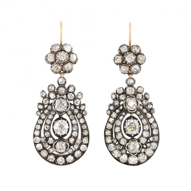 Antique Silver-Topped Gold and Diamond Pendant Earrings. Est. $8,000-12,000. Auction May 22. Beverly Hills