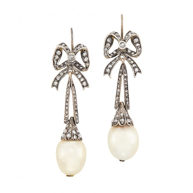 Antique Silver-Topped Gold, Diamond and Natural Pearl Pendant Earrings. Est. $2,500-3,500. Auction May 22. Beverly Hills