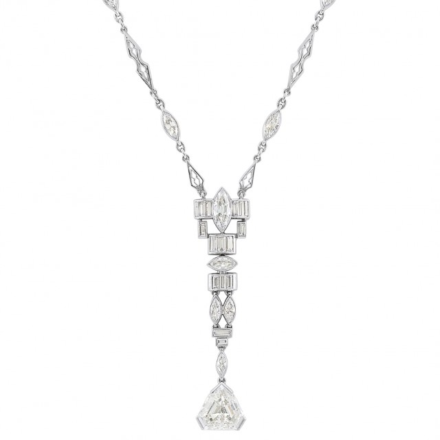 Art Deco Platinum and Diamond Pendant Necklace. Est. $7,000-9,000. Auction May 22. Beverly Hills