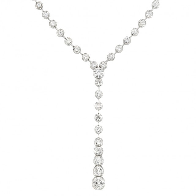 White Gold and Diamond Long Necklace. Est. $10,000-15,000. Auction May 22. Beverly Hills