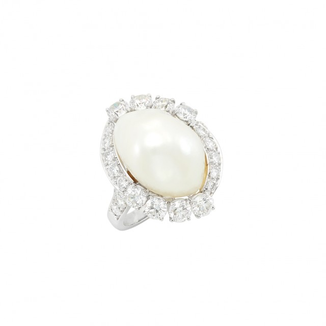 Platinum, Cultured Pearl and Diamond Ring, Ruser. Est. $1,500-2,500. Auction May 22. Beverly Hills