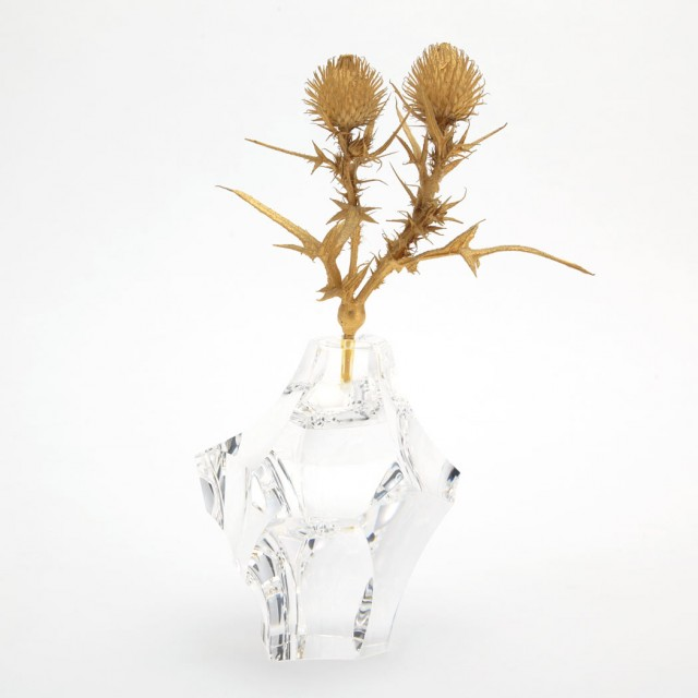 Steuben Gilt-Metal and Colorless Cut and Polished Glass Sculpture Entitled Thistle Rock, Designed by James Houston. Auction: Feb 8, 2017. Lot 324