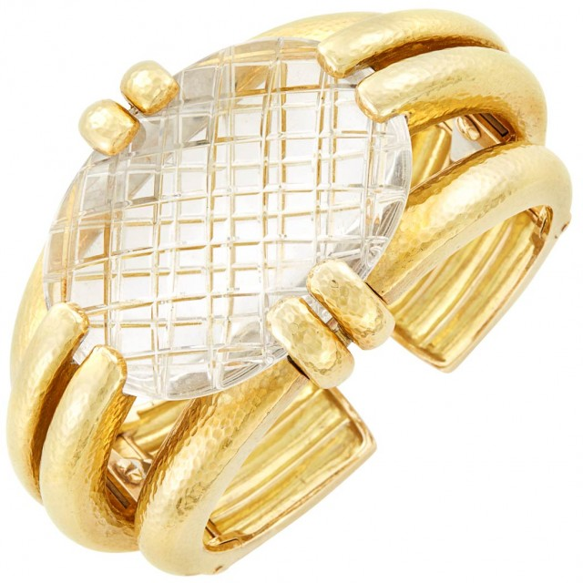 Gold and Carved Rock Crystal Cuff Bangle Bracelet, David Webb