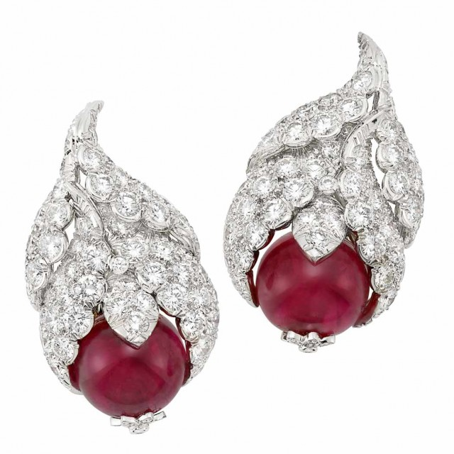 Pair of Platinum, Red Spinel Bead and Diamond Earclips, David Webb