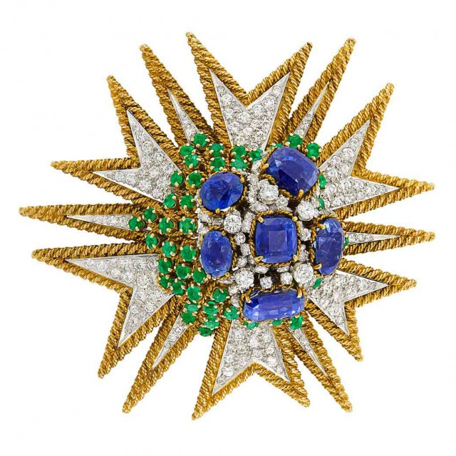 Gold, Platinum, Sapphire, Diamond and Emerald Clip-Brooch, David Webb