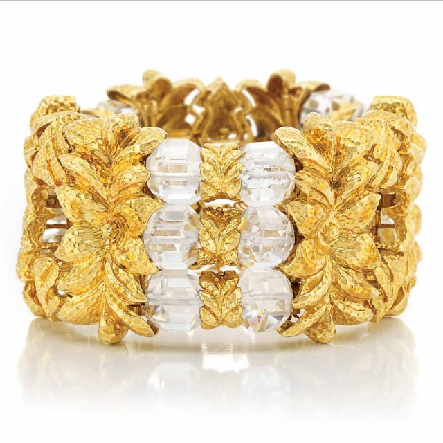 Hammered Gold and Rock Crystal Cuff Bracelet, David Webb
