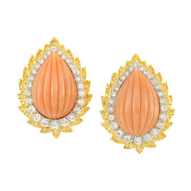 Pair of Gold, Platinum, Carved Coral and Diamond Earclips, David Webb