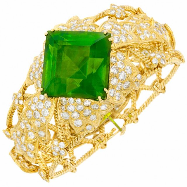 Gold, Peridot and Diamond Bangle Bracelet, David Webb