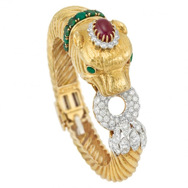 Gold, Platinum, Diamond and Gem-Set Chimera Bangle Bracelet, David Webb