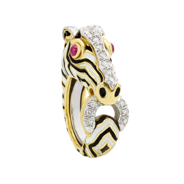Gold, Platinum, Enamel, Ruby and Diamond Zebra Ring, David Webb