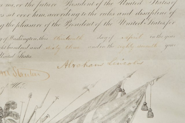 1863 Abraham Lincoln signed appointment as Lieutenant Colonel in the Corps of Engineers (detail)