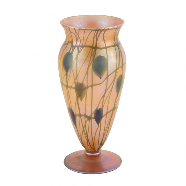 Durand Art Glass Heart and Clinging Vine Footed Vase, Circa 1925-31. Lot 253