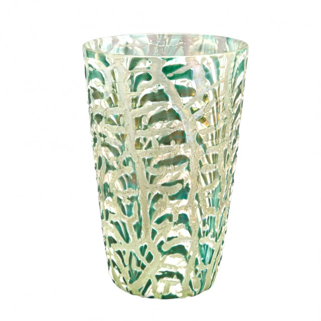 Durand Art Glass Moorish Crackle Vase, Circa 1925-31. Lot 258