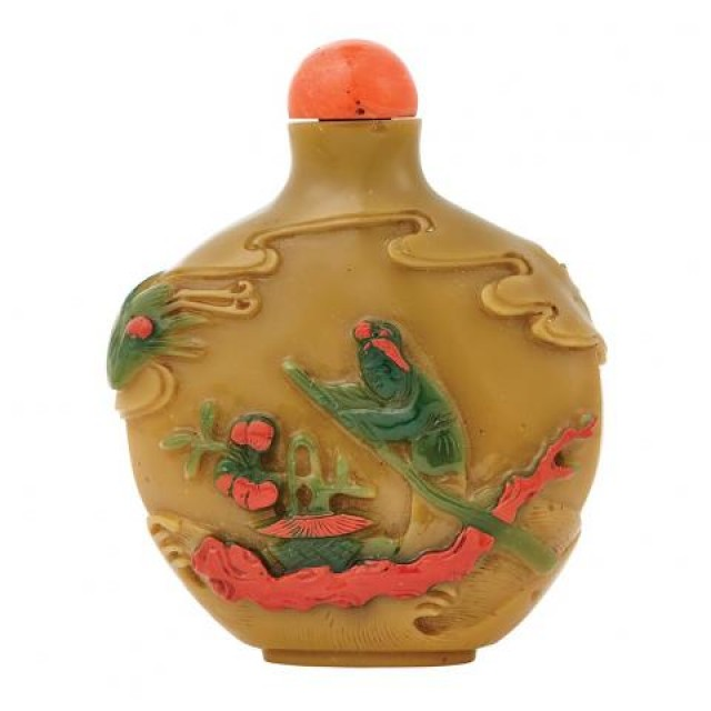 Chinese Green and Red Overlay Glass Snuff Bottle, Qing Dynasty. Lot 304