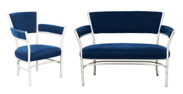 Warren McArthur, Velvet Upholstered Tubular Aluminum Settee and Armchair. Auction Mar 29 / Lot 448