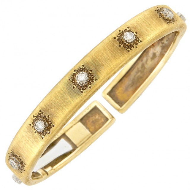 Gold and Diamond Bangle Bracelet, Buccellati. Lot 212