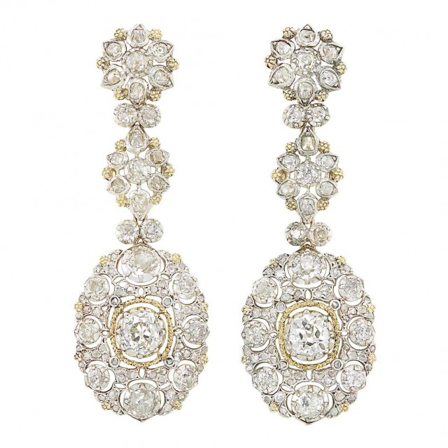 Pair of Silver, Gold and Diamond Pendant-Earrings, Buccellati. Lot 280