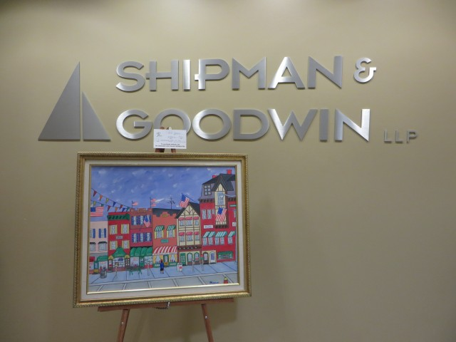 'Greenwich Avenue on the Fourth of July' by Bob Mann on view at Shipman and Goodwin LLP