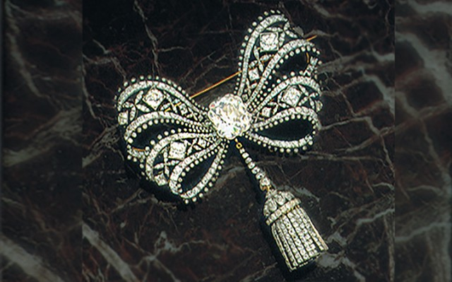 Important Antique Old Mine Diamond Bow Brooch. Formerly Property of Caroline Astor. Sold for $258,500.