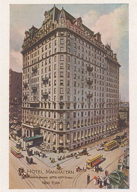 Postcard depicting the Hotel Manhattan, New York City, circa 1910.
