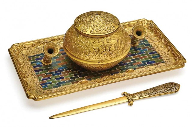 Louis C. Tiffany Furnaces, Inc., Inkstand and Paper Knife, circa 1920-24. Sold for $34,375.